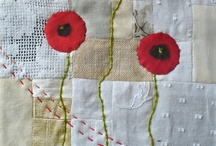 Poppies on neutral fabric