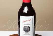 Wine bottle cakes, cupcakes and cookies