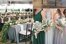 Grey and emerald green wedding theme