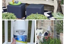 painted outdoor pots & furniture