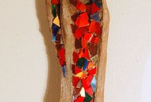 drift wood with glass pieces