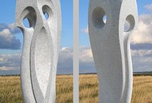 Curved Space / Curved Space - abstract sculpture - Jeremy Guy. Eng'd white marble 48H x 12W x 12D