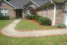 Curb appeal ideas using Lets Edge It / Decorative Plastic Brick Edging with solar lights