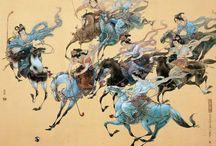中国 * Чжао Вэньянь * 赵文元 * Zhao Wenyuan / Чжао Вэньянь (赵文元), родился в 1946 году в г. Чженьзян (провинция Цзянсу). Яркий представитель разновидности китайской традиционной живописи — гунби. Гунби это тщательно подготовленное и раскрашенное произведение на специальной бумаге или шелке и обычно большого формата. В оригинале птицы (павлины), цветы и жанровые сцены гунби чрезвычайно красивы и изначально предназначались для украшения дворцов.