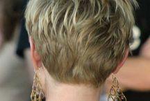 Short blonde pixie cuts front/back views