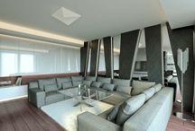 APARTAMENT W RYTMIE ROCKA W WARSZAWIE / Wystrój wnętrz w RYTMIE ROCKA apartamentu w Warszawie. Mocne akcenty z betonu, czarnego łupka i drewna w połączeniu z dodatkami glamour tworzą niepowtarzalny klimat wnętrza.