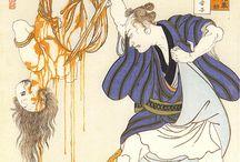 Title : « Naosuke Gombei ripping off a face »  Artist : Tsukioka Yoshitoshi (1839-1892)  Serie : 28 Famous Murders with Verse — 1866-67