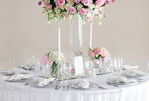 Soft Pink Wedding / This wedding was as beautiful as our bride! Large table mass arrangements with pink tulips, orchids and roses, with soft white hydrangeas and beautiful Chrystal Candelabras made this wedding a feast for the eyes!