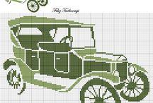 Cross stitch - cars/ Vyšívání - auta / Křížková vyšivka  aut, motorek, traktorů .....