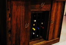 Vintage Wine Racks / Custom, vintage designed wine racks made with different types of wood including vintage barn wood, 100 year old red oak, and other re-purposed wood.