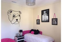 """English Bulldog Themed Bedroom aka Bulldog Chic Decor: / """"Figuring out how to decorate a teenager's room can be a challenge. They want something fun and colorful, and you want something that'll go with the rest of your home — and something you won't have to redecorate in a year."""