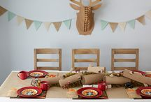 Let's Go Camping Party Ideas / What better way to bring the outdoors in than with a camping-themed birthday party? Use colors and textures found in the great outdoors, plus lots of faux wood to achieve this awesome theme for a sleepover.