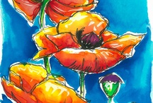 Painted flowers / by Tracey Fletcher King Art, Illustration, Classes