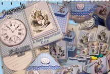 Alice In Wonderland Tea Party Set / Includes invitation w/envelope, lampshade (put over a wine glass or dessert glass), teabag covers, picks for cupcakes or other goodies. Extra pieces for layering/use as place cards and/or favors. Accessory pieces can also be used as unique invitations. You'll also find a card without words that you can customize for your own use. Look for the coordinating Scrap N Wrap set! http://robin-giftsyoucanfeelgoodabout.blogspot.com/2014/03/ive-been-getting-lot-of-interest-in-my.html