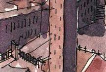 mimari çizim-perspektif / mimari perspektifler skeçler ve çizimler