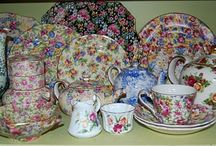 Chintz / I think that there isn't a china pattern in chintz that I don't like.  It is like a flower garden on porcelain.  The history of Chintz- shapes and transfers- is quite interesting. All of it is beautiful and some pieces becoming so rare.