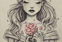 Black and white (girls, fantasy)