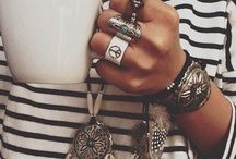 necklace, bracelets and rings