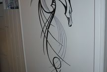 Wall Art / Hand painted wall art not hanging but on the wall.