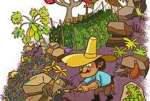 LA PURNIA / Ilustraciones creadas pra el proyecto La Purnia, ejemplo de unión y liderazgo en el cañón del Chicamocha