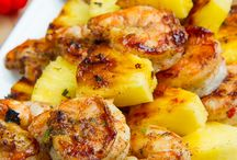 Shrimp / Grilled Jerk Shrimp and Pineapple Skewers. This looks so good - and healthy, low calorie, and easy.
