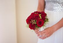 Red theme / Bridal bouquet and floral decoration in red