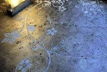 Painted stenciled concrete