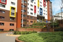 Accommodation: Manor Bank / Manor Bank is a distinctive modern building operated by UNITE.  Northumbria University has exclusive nomination rights to all single occupancy en suite study bedrooms.  These are arranged in self-contained flats for groups of four to six people and have small double beds.  Residents share an open plan kitchen with communal living space.