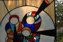 Drie muzikanten van glas in lood en tiffany / Hals in lood en tiffany