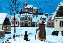 ILLUSTRATOR: Josef Lada / Although Lada is most famous for his illustrations of Jaroslav Hašek's novel The Good Soldier Švejk, he also painted multiple Christmas cards and holiday illustrations between the years 1918 and 1938.  Most of his holiday themed artworks depict charming Czech villages in the midst of winter, snowcapped and calm. Characterized by pastel cottages, Czech villagers, and small smoking chimneys, these works evoke a feeling of warmth and nostalgia.  See more at: http://www.TresBohemes.com