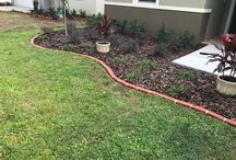 Outdoor Edging with Plastic Bricks / Plastic brick Edging with or without solar. Spikes sink in ground to hold in place