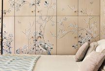 Bedroom Inspiration / Misha handmade wallpaper in bedrooms.