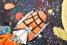 Grade 4 oil and pastel (Astronomy)
