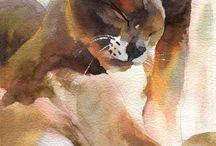 kissapiirroksia ja -maalauksia - drawed and painted cats
