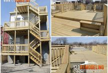 Rooftop Deck install / Wooden rooftop deck in Roscoe Village, Chicago-IL.