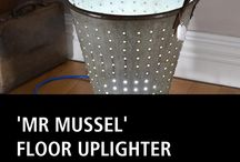 UPCYCLED 'MR MUSSEL' FLOOR UPLIGHTER / The 'Mr Mussel' upcycled floor-standing uplighter has a briny past. I found this galvanised steel mussel bucket in one of Leominster's wonderful salvage emporiums.  I saw the potential straight away and it sparked off an idea. The LED bulkhead allows the light to glow gently through the holes in the sides.  And remember, only collect mussels when there is an 'r' in the month. #amazing #style #cool#home #loveit  UPCYCLED 'MR MUSSEL' FLOOR UPLIGHTER £650.00