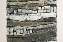 Collagraph printing with found objects by hand or press / Printmaking  / by Kathleen Dallara