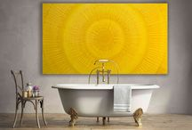 Yellow bathroom art