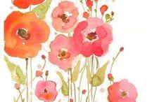 Akvarel, akryl mv. Motiver af blomster, dyr mm.