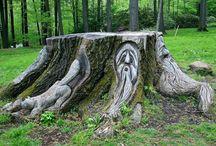 tree stump art chainsaw