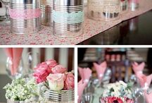 Vintage pots with flowers