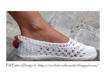 sapatos de crochê