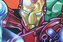 More Marvel Avengers mural / This mural was another opportunity for me to paint the Marvel Avengers. On this occassion I was ask to include the little boy and paint him into his own mural. He took the place of hawkeye as that hero had no head gear to obscure the boys face. The seven year old also wanted me to include some exploding battles ships as a backdrop to the mural. The characters were also breaking through his bedroom wall for added drama.