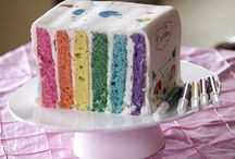 Vertically Stacked Rainbow Cake / For those who have ever known the frustration of a fallen rainbow cake, try this vertical version. For full tutorial, go to http://pieceofcakethebook.blogspot.com/2014/02/easy-to-stack-scribble-me-rainbow-cake.html