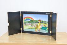 Puppenspiel, Kamishibai, Theater / Kinder lieben Geschichten. Mit dem #Bildertheater lernen die Kinder, frei zu sprechen und ihrer Fantasie im Erzählen freien Lauf zu lassen. #Betzoldkiga #Erzähltheater #Kamishibai #Geschichten #Deutsch #Theater #Puppenspiel