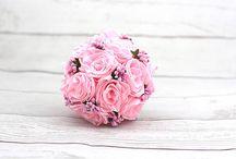 Svadobné kytice saténové / Handmade saténové, kanzashi svadobné kytice. Handmade satin, kanzashi wedding bouquets.