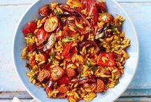 Roasted pepper and chorizo orzo salad