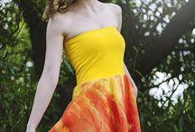 Silk / hedvábí / hand painted silk dress and accesories / ručně malované hedvábné šaty a doplňky