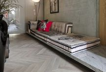 French oak herringbone and concrete floors