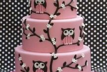 pink and brown owl cakes and toppers